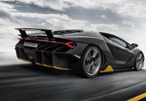 Lamborghini, Centenario, машина, дорога, скорость, облака, небо, Италия, фары