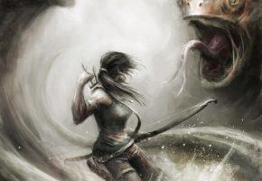 Обои Tomb Raider, Lara Croft, девушка, оружие, лук, стрелы, монстр, арт