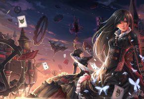 Обои alice in wonderland, девушки, карты, нож, кровь, замок, детали, механизм, бабочки, королева, череп