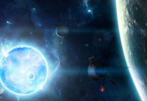 звезда, станция, планеты, звезды, спутник