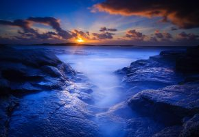 Обои пляж, скалы, утро, рассвет, вода, море