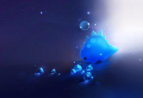 динозавр, кристаллы, синий, свет, пузырь