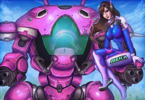 Обои танк, робот, девушка, арт, оружие