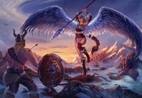 Обои арт, крылья, валькирия, воин, викинг, стрелы, битва, раны, снег, копье, горы