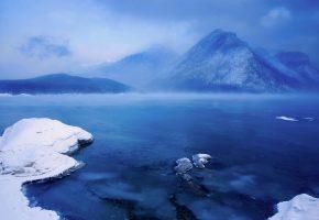 Обои озеро Минневанка, Альберта, Канада, горы, снег