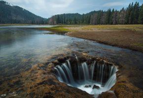 Обои Вода, лес, река, лето, яма