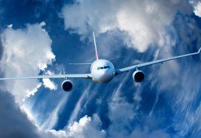 Обои самолет, полет, небо, облака, крылья, турбины