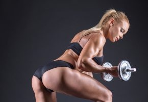 Обои блондинка, fitness, ножки, фигурка, девушка, гантеля, мышцы
