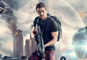 Обои Дивергент, глава 3, За стеной, The Divergent Series: Allegiant, фантастика, постер, Тео Джеймс, Theo James, оружие, рюкзак, фон