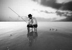 человек, море, рыбалка, рыбы