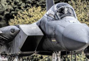 Обои F-15, Eagle, истребитель, нос, кабина