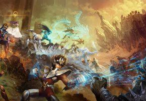 Обои аниме, битва, герои, арт, скалы, воины, доспехи, магия
