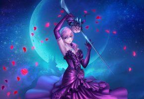 Обои Final Fantasy XIII, арт, игра, девушка, оружие, лепестки роз, платье, луна, ночь