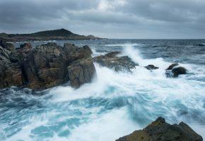 Обои остров, Кейп-Бретон, Канада, Атлантический океан, океан, скалы, побережье, волны, брызги