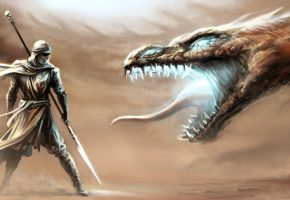 Art, fantasy, warrior, dragon, fight, копье, кочевник, маска