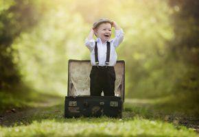 ребенок, мальчик, малыш, лес, парк, чемодан, эмоции, радость, детство