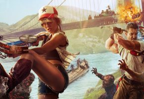 Обои Dead Island 2, мост, кепка, девушка, парень, зомби