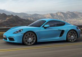 porsche, 718, cayman, порше, купе, авто, голубая