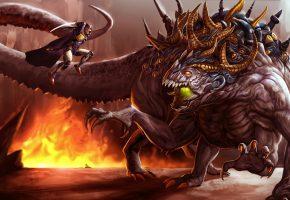 Обои монстр, чудовище, фэнтези, арт, воин, final fantasy