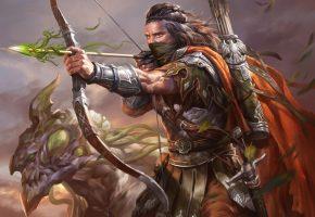 Обои арт, фэнтези, воин, лучник, стрела, лук