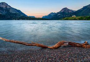 Обои Waterton Lakes National Park, Alberta, Канада, озеро, горы, берег, дом, коряга, камешки