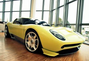 Обои авто, желтый, спорткар, перед