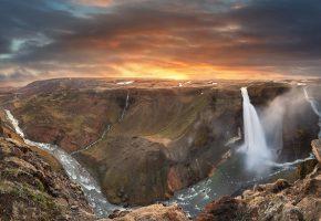 Обои водопад, река, горы, восход, облака