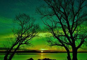 Обои sunrise, восход, lake, tree, sky, nature, деревья, облака, озеро