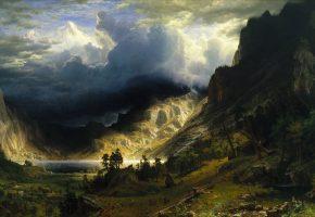 искусство, живопись, небо, облака, пейзаж, фентези