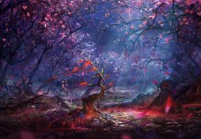 Обои деревья, лес, графика, пейзаж, искусство, фэнтези