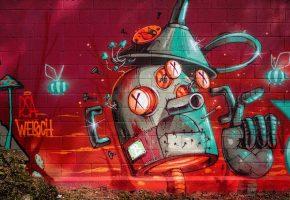 Обои город, стена, граффити, рисунок