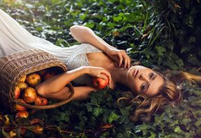 Обои девушка, взгляд, лукошко, яблоки, трава, волосы