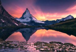 Обои Matterhorn, горы, отражение, озеро