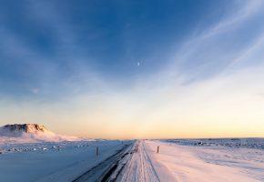 Обои Снег, Исландия, дорога, зима, утро, небо, луна