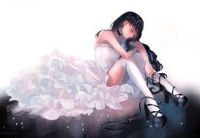 Обои арт, девушка, сидит, платье, белое