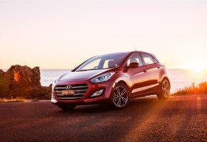 Hyundai, i30, хундай, красный, закат