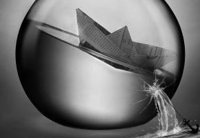 кораблик, бумажный, шар, стеклянный, якорь