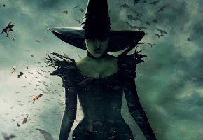 Оз, Великий и Ужасный, Oz the Great and Powerful, фэнтези, ведьма, колдунья, в черном, платье, шляпа, тучи, нечисть, постер