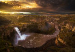 Обои Вашингтон, водопад, река, Палус, каньон, утро