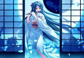 art, saeki hokuto, tsukumo no kanade, aina misumi, кимоно, флейта, ночь, полнолуние, тени, лепестки