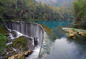 Обои горы, леса, река, плотина, вода