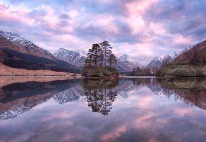Обои Шотландия, горы, закат, озеро, деревья, пейзаж, отражение