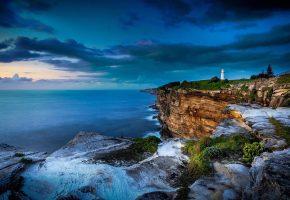 Обои маяк, океан, скалы, обрыв, тучи, Сидней, Австралия