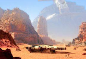 Обои star-wars, planet, art, звездные войны, планета, корабль, роботы