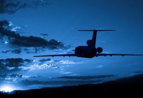 полёт, небо, ночь, облака, высота, ночь