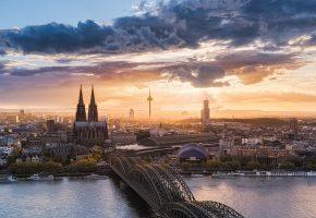 собор, Кельн, мост, германия, тучи, облака