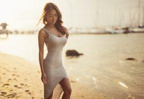 девушка, азиатка, пляж, побережье, фигура, брюнетка, платье