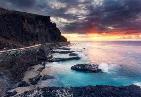Обои море, природа, пейзаж, закат, дорога, скала, берег