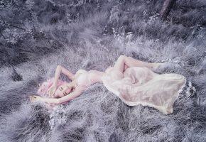 девушка, лежит, фигура, трава, платье