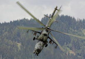 Ми-35, ударный, вертолёт, полет, лопасти